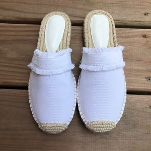 New JOIE White Espadrille Slide Mules Flats